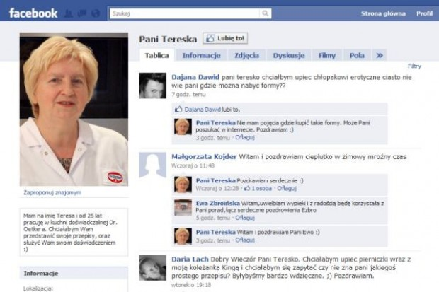 Dr. Oetker promuje się na Facebooku