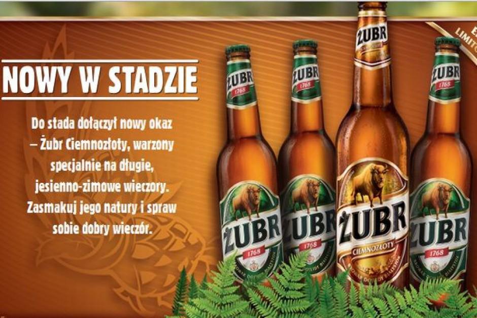 Kompania Piwowarska reklamuje Żubra Ciemnozłotego