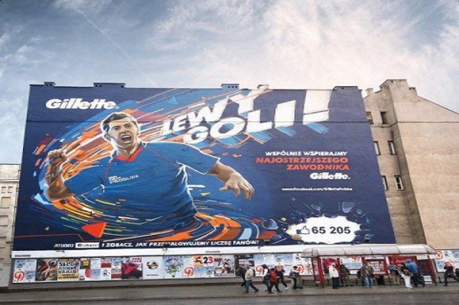 Niestandardowa kampania Gillette - Robert Lewandowski na muralu