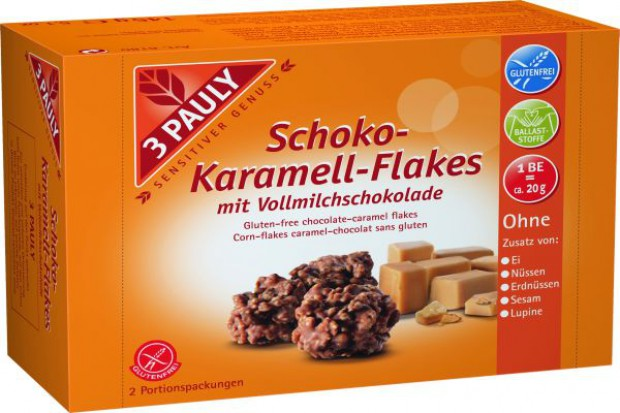 Bezglutenowe Płatki w karmelu i mlecznej czekoladzie marki 3 PAULY