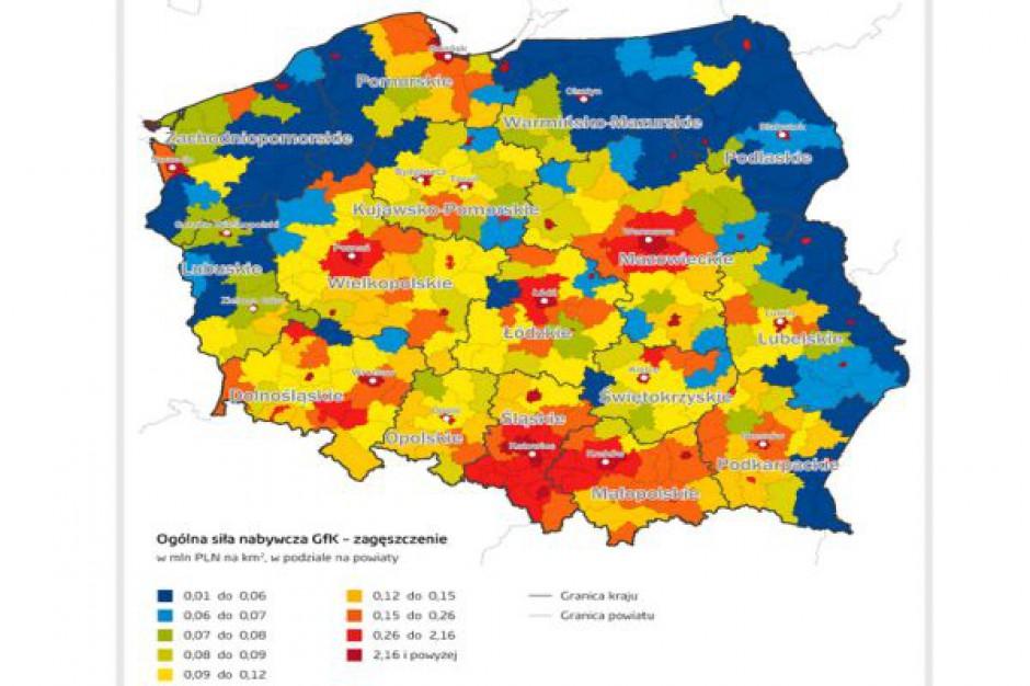 Gfk: Nadal duże zróżnicowanie regionalne w sile nabywczej Polaków