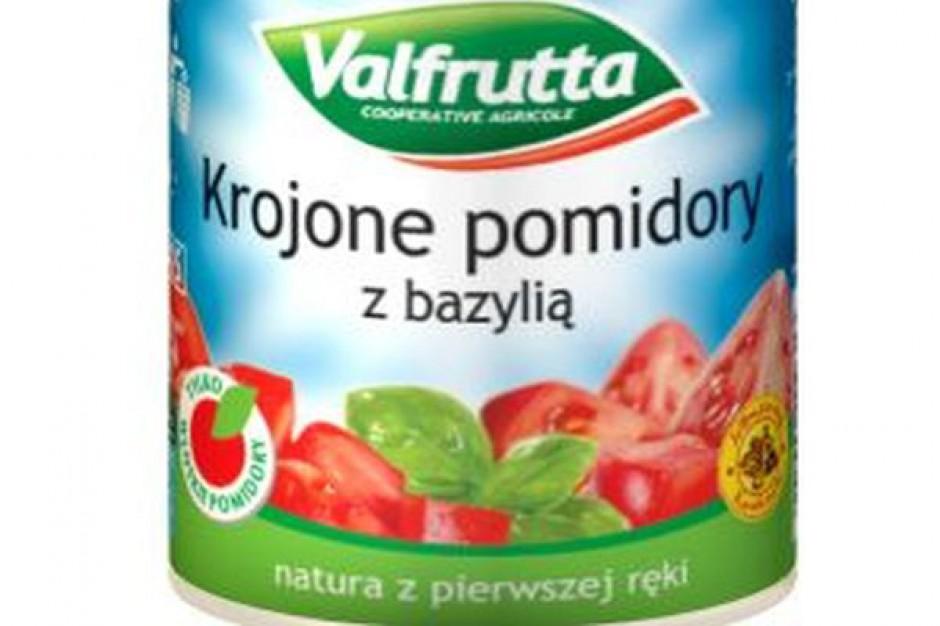 Krojone pomidory w puszce z ziołami, bazylią i czosnkiem marki Valfrutta