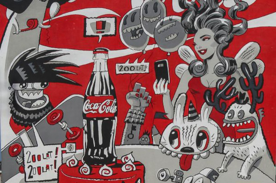 Murale z okazji jubileuszu stulecia butelki Coca-Coli