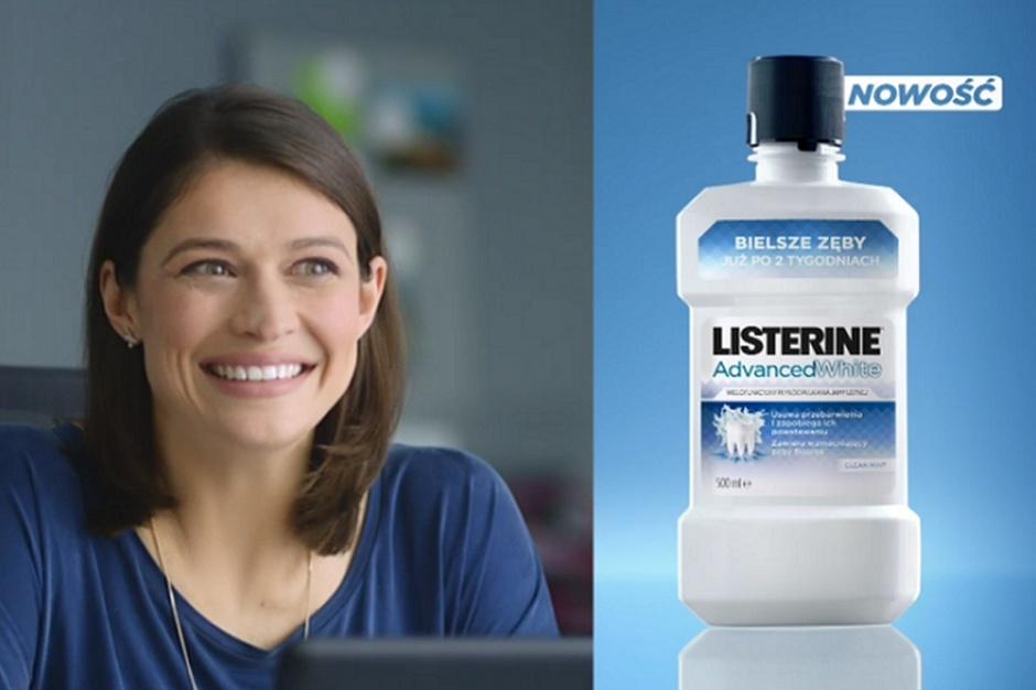 Listerine Advanced White promowany w mediach i punktach sprzedaży