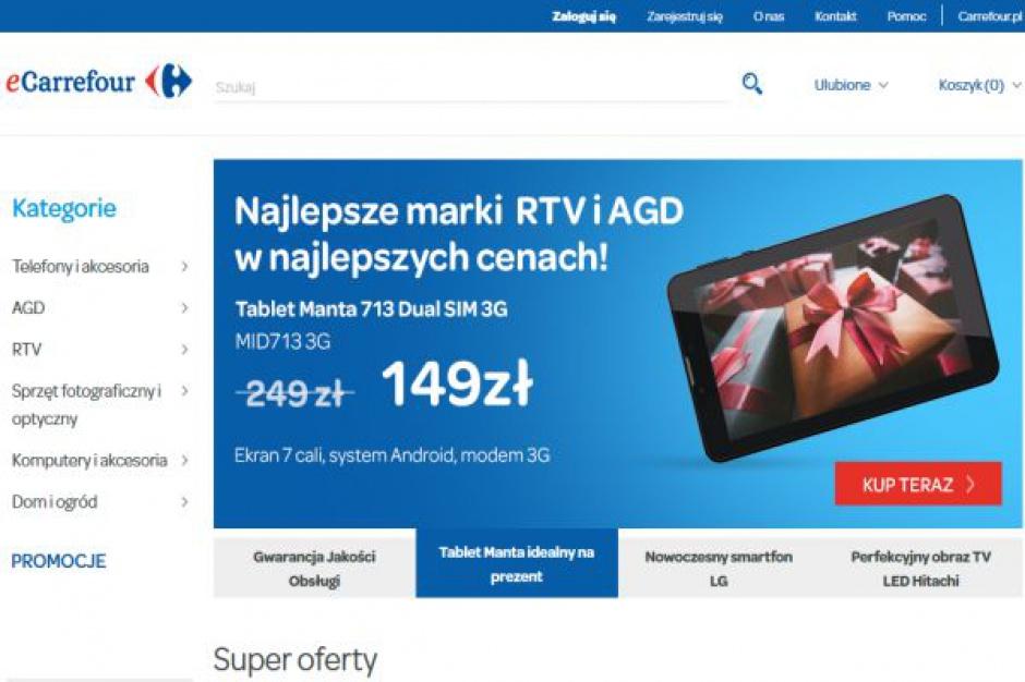Carrefour rozpoczyna sprzedaż przez Internet. W ofercie sprzęt RTV i AGD