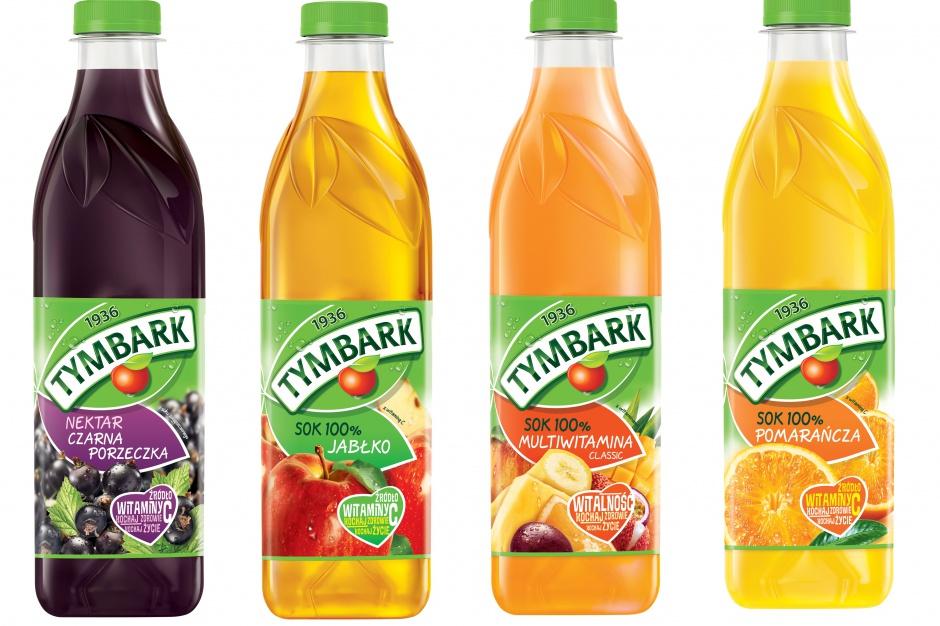 Soki Tymbarku w kwadratowych butelkach