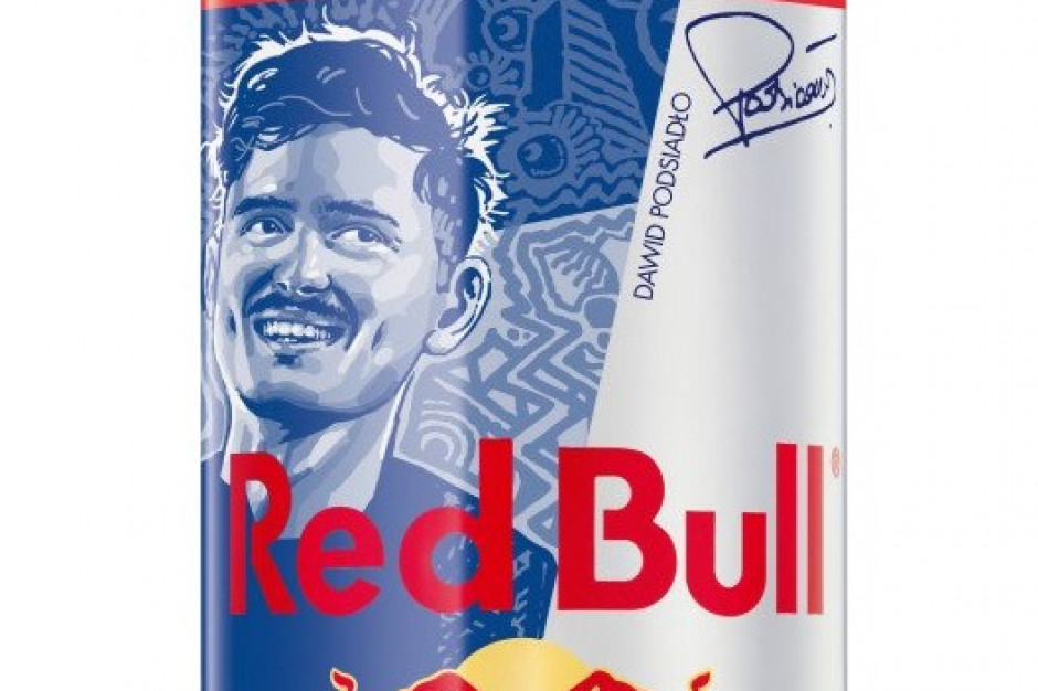 Dawid Podsiadło z wizerunkiem na puszkach Red Bulla