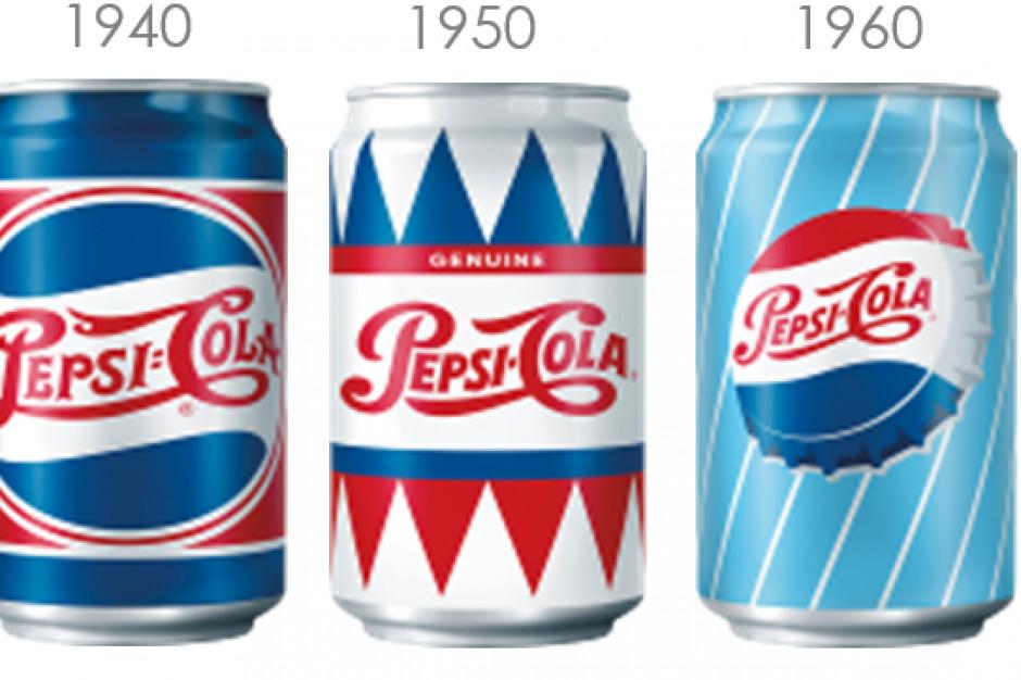 Pepsi reklamowana w puszkach z dawnych dekad