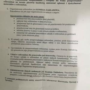 Skan pisma przesłanego przez pracodawcę do sklepów Biedronka