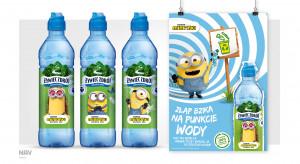 Minionki na etykietach wody niegazowanej Żywiec Zdrój