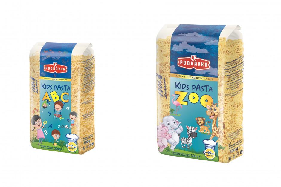 Makarony dla dzieci w kształcie zwierzątek i literek od Podravki