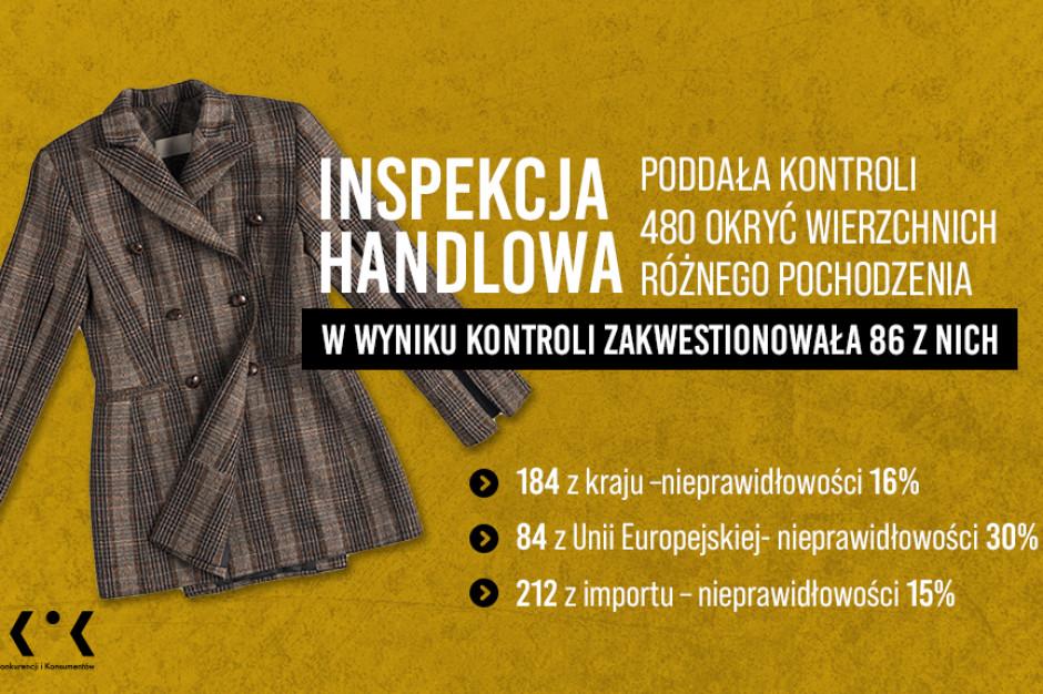 Inspekcja Handlowa zbadała jakość kurtek: Błędne oznakowania i skład ubrań